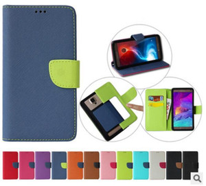 محفظة عالمية PU حقيبة جلد الوجه مع فتحات بطاقة الائتمان على 3.5 إلى 6 6.0inch حجم 12 الألوان حالة خلية الهاتف المحمول