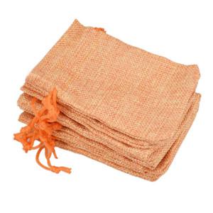 9x12 سنتيمتر مخصص فو الجوت الرباط حقائب مجوهرات الحقائب الصغيرة الخيش أورانج فارغة الكتان النسيج هدية أكياس التعبئة حقيبة هيس للبيع