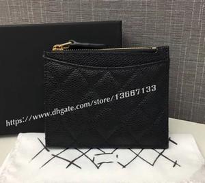 Portefeuille Black Caviar Zipper portefeuille classique de la nouvelle femme 2018 Titulaire de la carte classique 84105 Portefeuille en cuir véritable petite pièce de monnaie Factory Outlet avec boîte