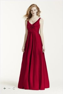 Vintage 2019 Bridesmaid Dresses Designer Occasion Satin Tank Long Ball Gown Ruched bodice v-neckline Style Bridesmaid Maid Of Honor Dress