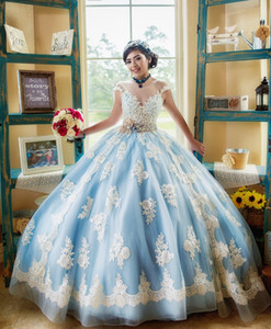 Popular Light Sky Blue and White Quinceanera Dress Cap Short Sleeve Applique Lace with Beads Sash Bow Vestidos de 15 anos Ball Gown 2019