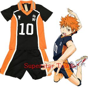 Wholesale-Haikyuu! Hot Karasuno High School Uniform Jersey Volleyball New Cosplay Costume Number 10 T-shirt and Pants