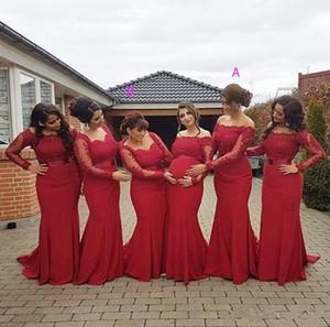 Elegant Long Sleeves Mermaid Bridesmaid Dresses Off Shoulder Lace Appliques Long Plus Size Evening Party Gowns Wedding Guest Dresses