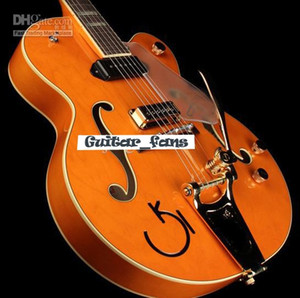 Coutume GRETCH G6120DSW Chet Atkins Hollow Body guitare électrique Finition orange Bloc MOP Fingerboard Inlay Matériel Or