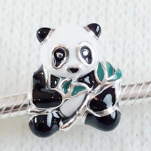 New 100% 925 Sterling Silver Cute Panda Charm Bead with Enamel Fits European Pandora Jewelry Bracelets