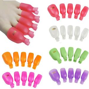 Nueva 10Pcs / lot del pie dedo del pie plástico del arte del clavo empapa del clip del casquillo herramienta Wrap polaco ULTRAVIOLETA del gel removedor