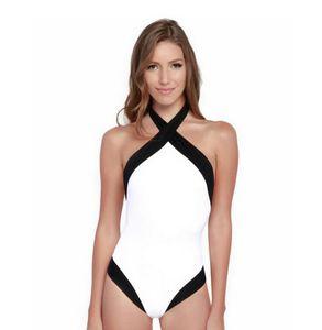 Frauen Schwarz Weiß Patchwork Criss Cross Backless Badeanzug Brasilianische Biquini Monokini Badeanzüge Bademode Body S Mni Backless Sommer