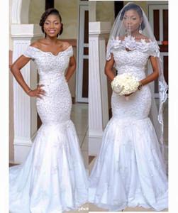 Старинные Африканские Свадебные Платья 2016 С Плеча Жемчуг Свадебные Платья Спинки Кружева Арабский Свадебное Платье Плюс Размер Невесты Dressess