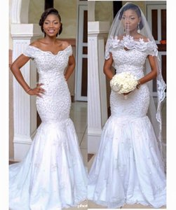 Vestido De Casamento Africano do vintage 2016 Fora Do Ombro Pérolas Vestidos De Noiva Sem Encosto Rendas Vestido De Casamento árabe Plus Size Noiva Dressess