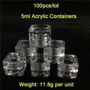 100Pieces / Lot 5ml / Weight 12G 투명한 정사각형 컨테이너 항아리 도매 플라스틱 왁스 컨테이너 판매 무료 배송 World Wide하려면