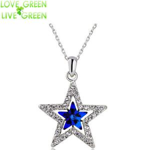 Al por mayor-2016 mujeres del diseño de la manera de la muchacha regalos 18KGP cristal austríaco estrella de la luna colgante de collar de cielo joyería de moda 80029