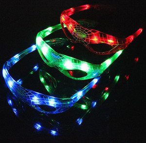 Spiderman vetri infiammanti del partito della luce LED Glow Mask Occhiali di Natale di Halloween di vetro del bambino regalo Occhiali Led Rave partito giocattolo LED della novità