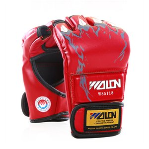 2017 New Grappling Mma Pu Boxing Punching Gloves Special Thick Cotton Fabrics Sanda Fighting Half Finger Gloves 5 Colors