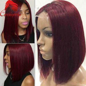 Rihana Короткий боб шнурка 99j парики Малайзии человеческих волос полный парики шнурка для чернокожих женщин Красный Боб Cut фронта шнурка Боб парики