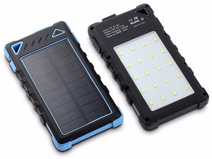 Fábrica wholelsae impermeable cargador solar 8000mAh con 20 luces LED, Súper energía solar del cargador del banco de doble puerto USB para el teléfono móvil / tabletas