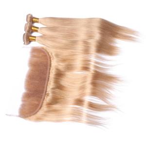 Strawberry Blonde # 27 Ear to Ear Lace Full Lace Frontal con paquetes de cabello Sedoso cabello liso teje con frontales de encaje