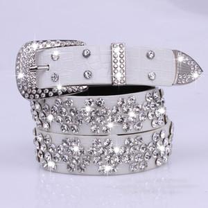 Correa de cintura de la decoración blanca de la manera del diamante del ocio femenino de la correa de la PU al por mayor para las mujeres cummerbunds