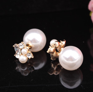 Perle Boucles d'oreilles Boucles d'oreilles Double côté Diamant Deux Ballon pour femmes Crystal Bijoux Boucles d'oreilles en vente Cadeau de Noël