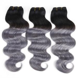 Бразильские волосы уток человеческих волос плетение объемная волна Ombre 1BDark Серый Перуанский Малайзии Индийский наращивание волос 8А горячей продажи