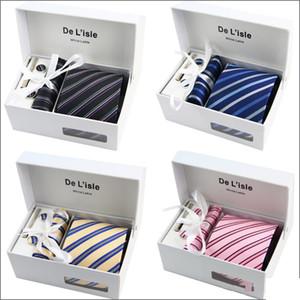 دي Losle Brand Men's Jacquard Necktie Set Classic Mens Necktie Tie Tie Clip Clips Cufflinks Hanky 39 colors Gift