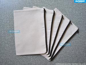 100 unids / lote bolsa de maquillaje de moda simple bolso de la cremallera monedero blanco Natural lona de algodón puro 12 oz con cremallera negro sin forro