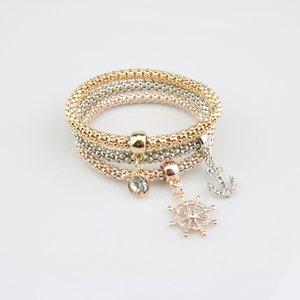 Il timone della nave Diamond Pendant tre pezzi Braccialetto Chain Braccialetto produttori che vendono la lega di mais elastico