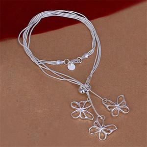 Brand new Tai Chi jeito três borboleta esterlina da placa de prata colar SN043, venda quente de moda prata 925 colar de pingente de venda direta da fábrica