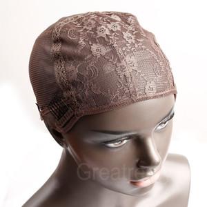 Greatremy Professional perruque Caps pour Faire perruque avec des peignes et des sangles réglables Swiss Lace Taille moyenne Brown