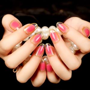 Поддельные ложные акриловые советы ногтей полный ложные французский советы ногтей новые ложные советы ногтей Маникюр персик цветы градиент Алмаз блестящий 3d поддельные nai