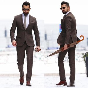 2018 vintage wood Two Pieces Mature Men Suits Plus Size Groom Wear Tuxedos Cheap Brown Mens Wedding Suit Custom Made