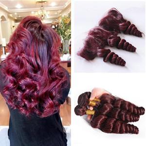 Faisceaux de cheveux humains rouge vin avec dentelle frontale 99j lâche cheveux vague tisse avec 13 * 4 Full Lace Frontals vin rouge malaisienne cheveux