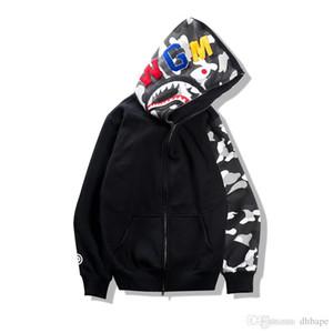 2017 otoño invierno marea marca adolescente hip hop shark imprimir camo sudadera con capucha ama noche camuflaje algodón cremallera sudadera chaqueta