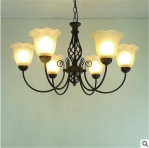 LRE028-Venta al por mayor Vintage Glass Iron light Lámpara de araña de interior Light Iron Glass Modern Hotel Lobby Chandeliers Luces colgantes