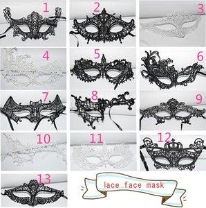 Máscaras de Halloween Masquerade Sexy Preto / Branco Máscaras de Renda Venetian Meia Máscara Facial para o Partido Cosplay de Natal Night Club Máscaras de Olho 13 estilos