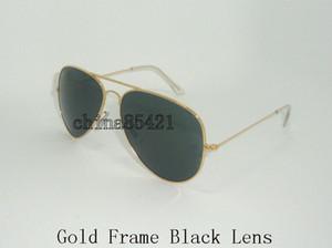 Diseñador Classic Pilot Sunglasses Hombres Mujeres Sun Glasses Eyewear Gold Frame Black Lens 58mm Ven con caja y estuche
