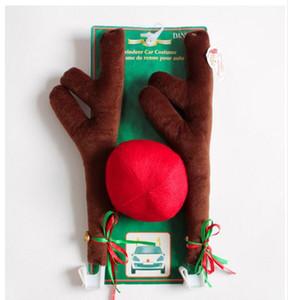 Nuevas cornamentas de renos de Navidad y kit de nariz roja para coche Diversión de Navidad Rudolph Orejas de reno para todos los vehículos Decoración de coche Navidad