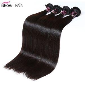 Ücretsiz Kargo İpeksi Düz Brezilyalı Saç Paketler 4pcs / lot İşlenmemiş İnsan saç örgüleri Ucuz Perulu Bakire Saç atkıları Toptan