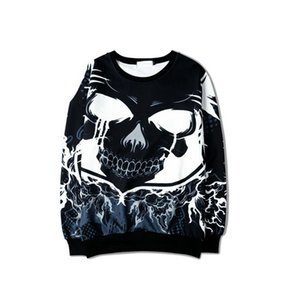 3D large skull round neck heavy high street brand retro wave of Japanese hip-hop street heavy Sweatshirts couple men and women