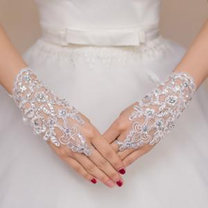 Freies Verschiffen 2016 neue heiße Verkaufs-Art- und Weiseweiß, Elfenbein-Perlen-Spitze-Hochzeits-Brauthandschuhe, Ring-Armband-Hochzeits-Zusätze