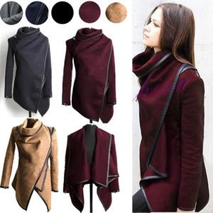 Yün Palto Bayan moda Giyim Yün Karışımları Coats Bayanlar Trim Kişilik Asimetrik Kurallar Kısa Ceket Palto