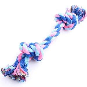 Perro de la cuerda del hueso Chew fuentes del animal doméstico del perrito de algodón resistente trenzado divertido herramienta de doble nudo de juguetes masticables admiten nudo Juego con el perro de juguete de la herramienta Inicio