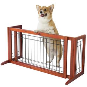 Porta da cerca do animal de estimação Porta livre do cão que está a construção interna da madeira maciça da porta ajustável