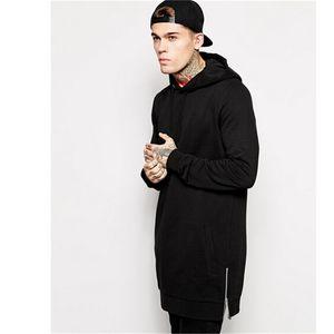 Al por mayor-Nueva llegada envío gratis moda hombres largos sudaderas con capucha negro Feece con Side Zip Longline Hip Hop Streetwear camisa
