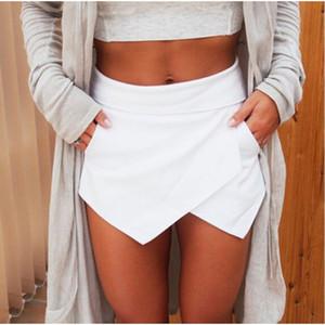 Wholesale-2016 Summer Women Fashion Dropped Skirts Ladies Womens Skorts Shorts Bright Mini Asymmetrical 6 Colors