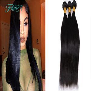 Factory Outlet Indisches Haar Grade 7A Gerade 100% Unverarbeitetes Menschenhaar 3 Bundles Angebote Indische Gerade Haarverlängerungswebart
