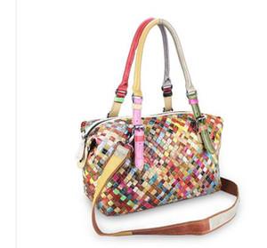 Bayan çanta, Boston deri bayan çantası, yatay kare, moda renkli emiş tokası, gelgit paketi, deri dokuma dikiş çantası