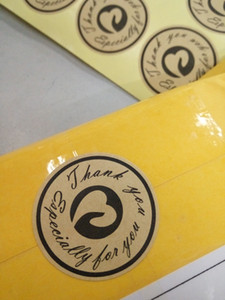 """126pcs """"obrigado"""" etiqueta, etiquetas de papel - circular design kraft papel autocolante selo etiqueta autocolante, diy mão adesivos selo"""