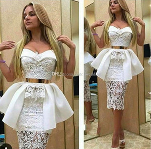 2021 Sexy White curto Cocktail Dresses Querida Lace cetim bainha joelho Arábia Árabe Partido Vestidos Aso Ebi Estilo Vestidos