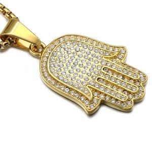 MCW titanium aço inoxidável micro pave strass completo bling mão hamsa fatima palm pingentes colares para homens jóias