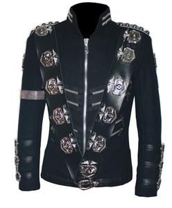 Atacado- MJ Michael Jackson BAD JACKET COM PRATA EAGLE BADGES Punk Jacket Coleção Performance- (TODOS OS TAMANHOS!